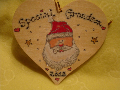 Special Grandson Santa Head Father Christmas Heart Christmas Hanger Large Wooden Ready To Despatch Handmade Unique